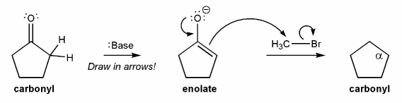 Draw in the curved arrows to show the formation of the enolate (middle  compound), and draw the structure of the carbonyl product (right compound)